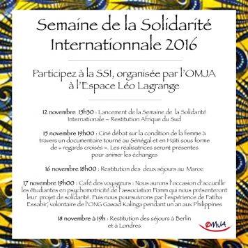 La Semaine de la Solidarité Internationale: le programme !